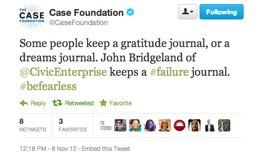 Case Foundation - Do you keep a failure journal?